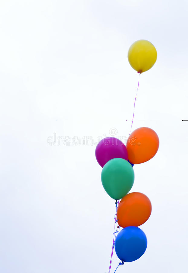 Balloons. Of different colors as an ornament by a holiday stock image
