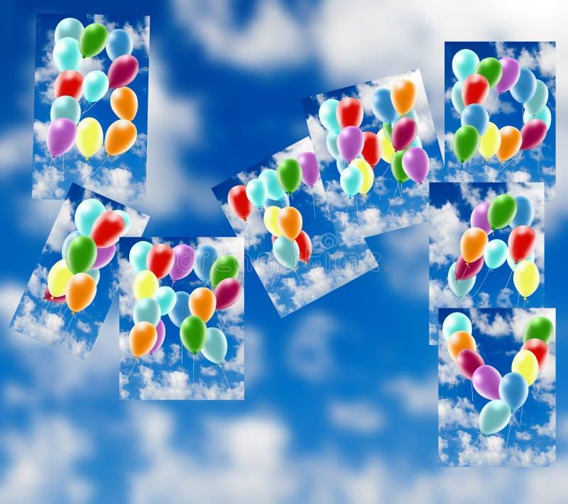 Balloons against the sky. Happy Birthday. 3d illustration stock illustration