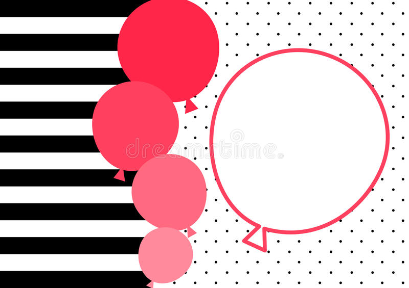 Stripes and pink balloons invitation card vector illustration