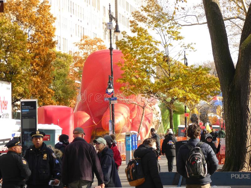 Thanksgiving Day Parade Balloons Inflating. Balloons are being inflated in New York City, the day before the Macy`s Thanksgiving Day Parade royalty free stock photos