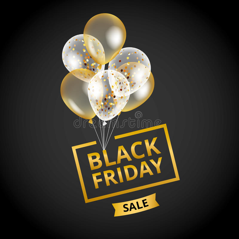 Balloons Black Friday sale royalty free illustration