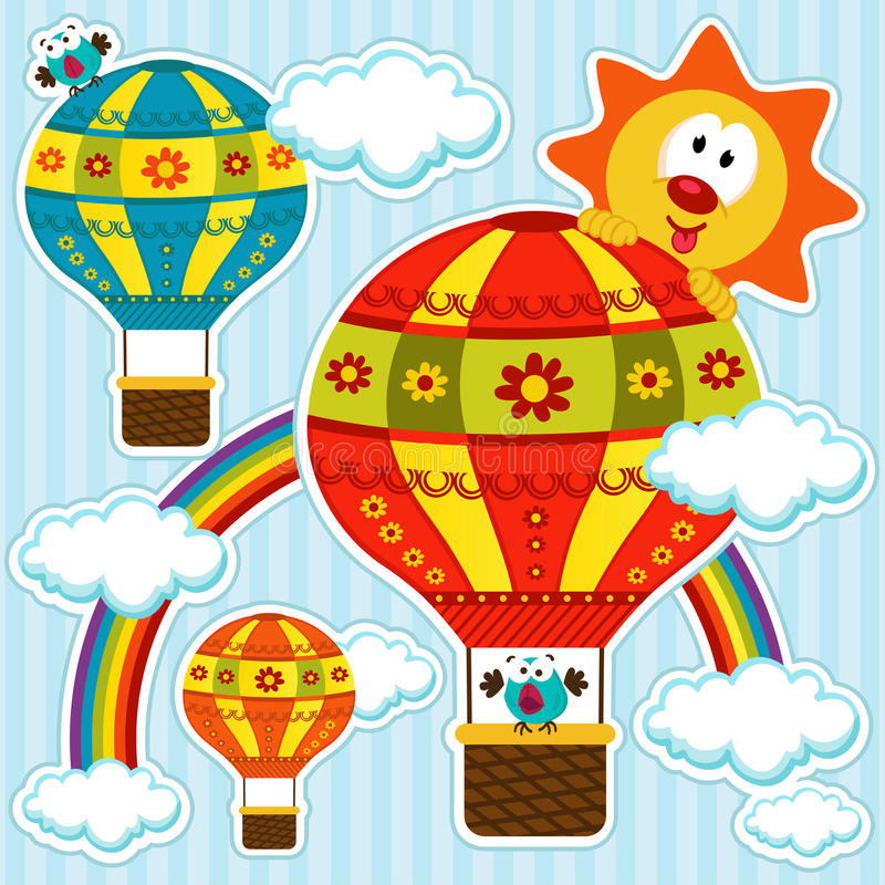 Download Balloons on blue sky stock vector. Image of adventure - 34332789