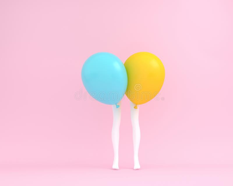 Balloons blue and yellow pastel with white legs woman on pink co. Lor background. Creative layout made for festival like birthday or christmas celebration party royalty free stock photo