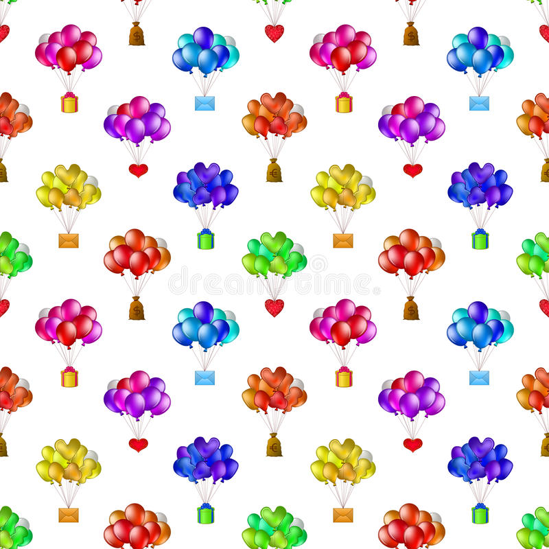 Balloons bunches, seamless royalty free illustration