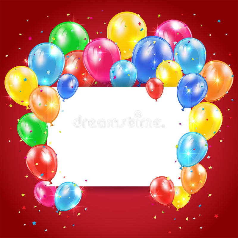 Balloons and card on red background. Flying colored balloons on red holiday background with card, illustration royalty free illustration