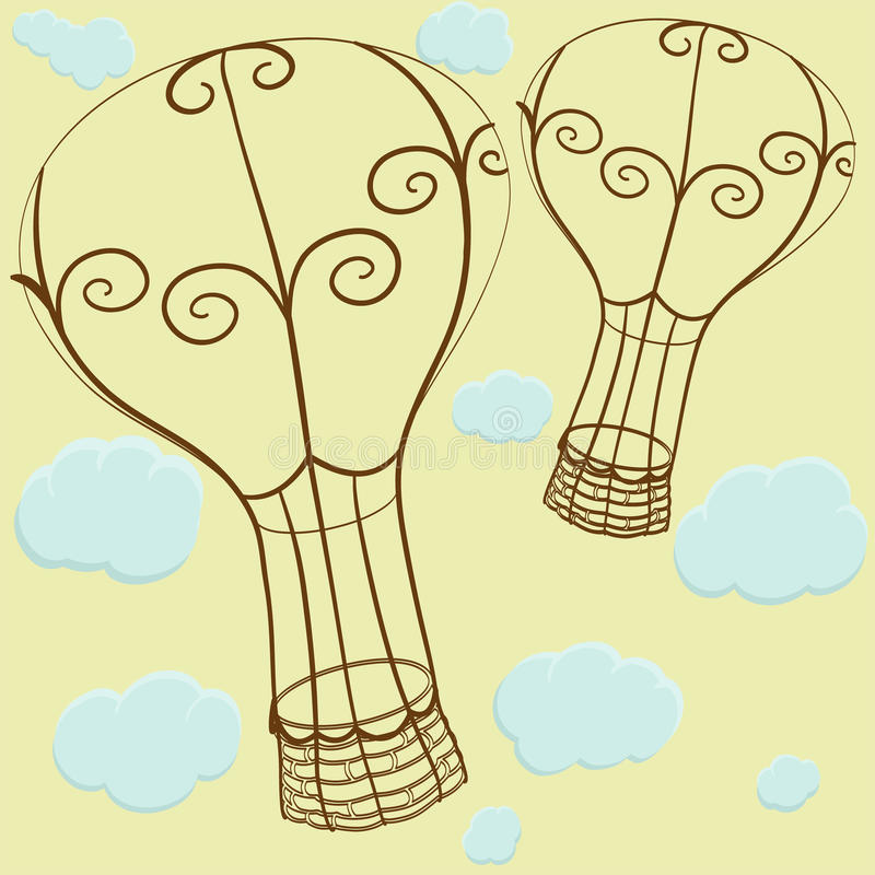 Balloons and clouds stock illustration