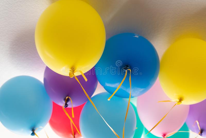Balloons and colorful balloons with happy celebration party background royalty free stock photos