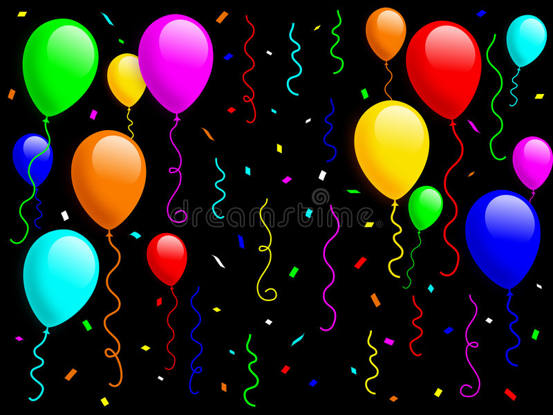 Balloons and Confetti [1]. Colorful balloons with confetti and ribbons on black background for a funny kids party. You can find the same illustration, on white vector illustration