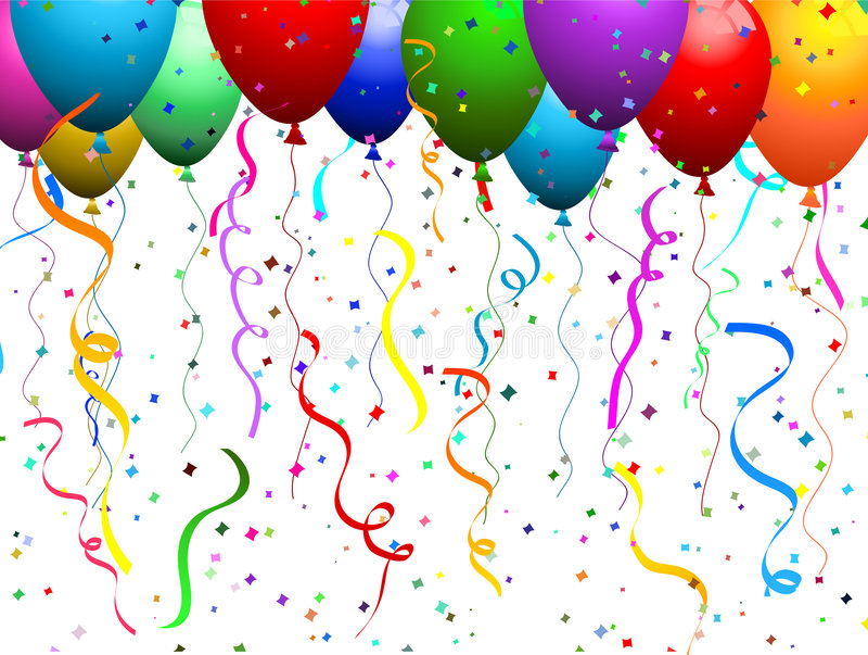 Balloons and confetti stock illustration