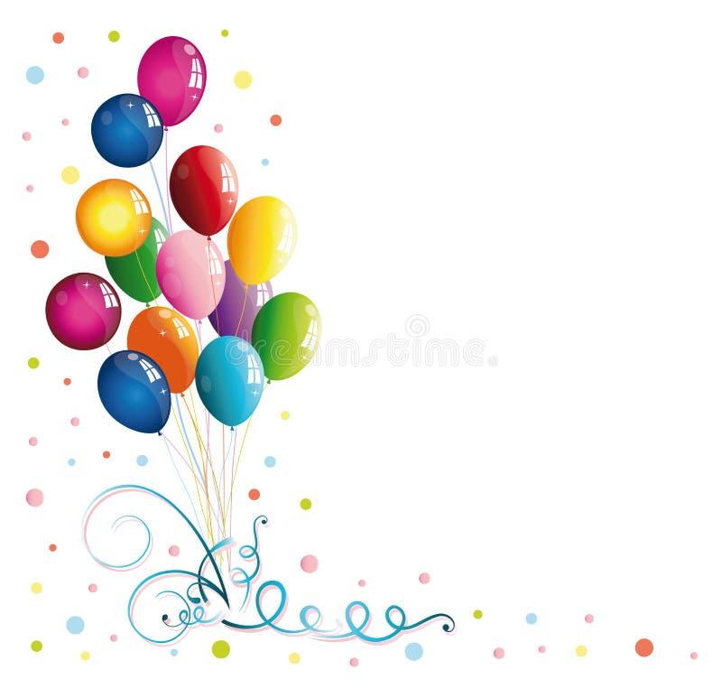 Balloons, confetti royalty free illustration