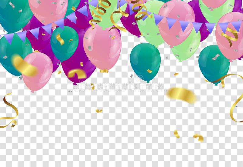 Balloons, confetti concept design template holiday Happy Day or anniversary day. Event stock illustration