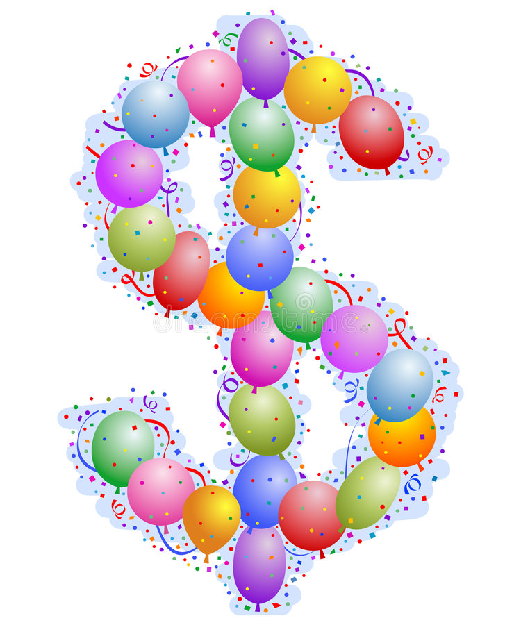 Download Balloons And Confetti - Dollar Sing Stock Vector - Image: 4970794