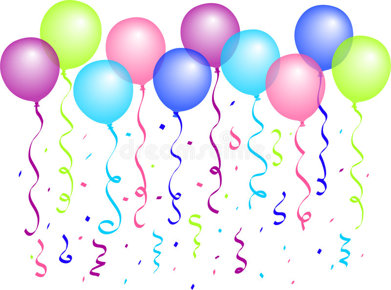 Balloons and Confetti/eps. Illustration of multi-colored balloons and confetti...eps available...separate balloons and change colors