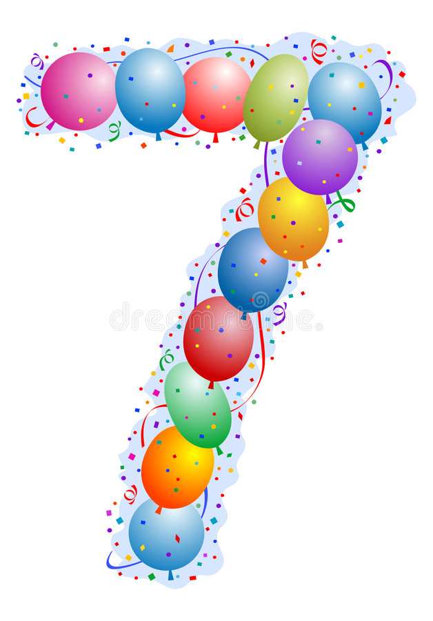 Balloons and confetti Number 7 vector illustration