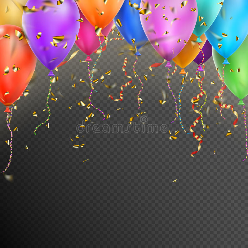 Balloons, confetti and red gold ribbons. EPS 10 stock illustration