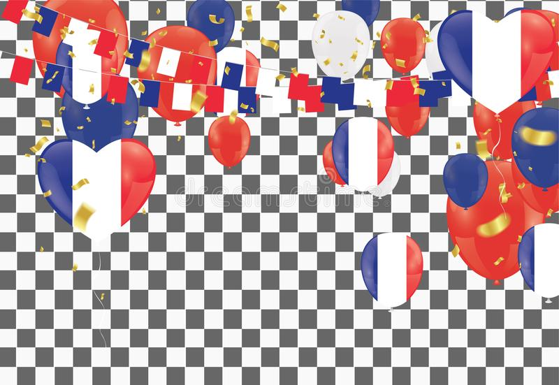 Balloons with Countries flags of national France flags team group and ribbons flag ribbons, Celebration background template. stock illustration