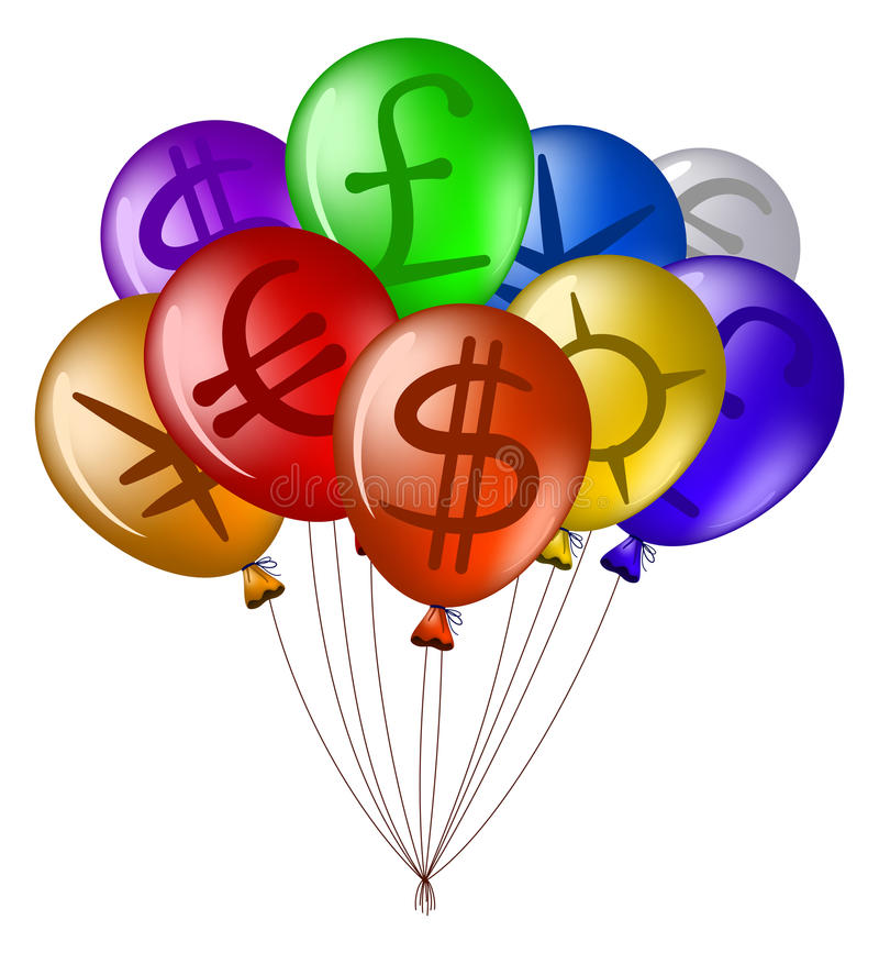 Download Balloons With Currency Signs Stock Vector - Image: 22398083
