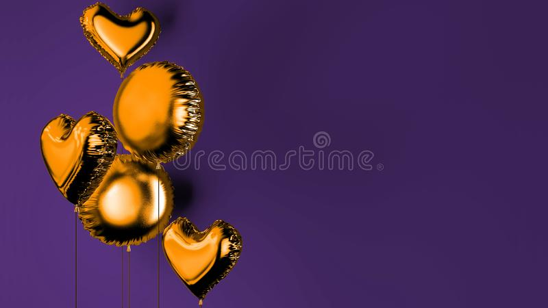 Balloons for decoration of weddings 3D rendering. Balloons for decoration of weddings of weddings and holidays. 3D rendering. 3D illustration stock illustration