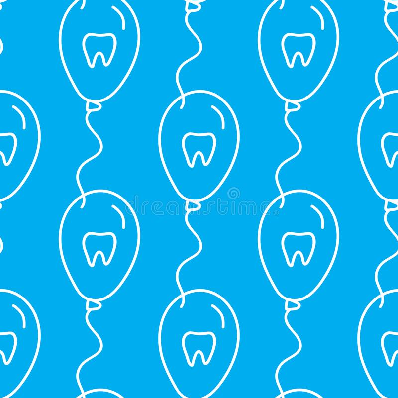 Balloons of dentistry. Vector Dental care symbol seamless pattern. Vector Balloons of dentistry. Dental care symbol seamless pattern isolated on blue background royalty free illustration