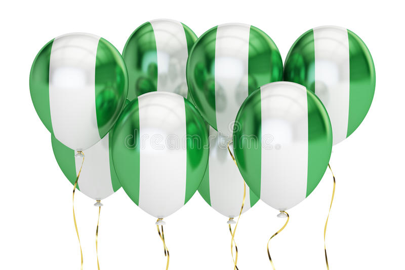 Balloons with flag of Nigeria, holyday concept. 3D rendering royalty free illustration