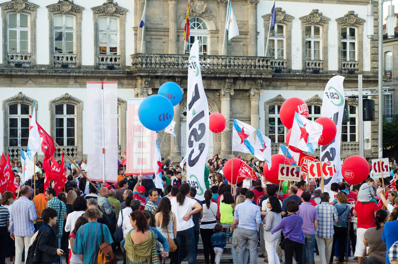 Balloons and flags. PONTEVEDRA - JULY 19: Detail of the manifestation of all unions and associations to protest the social cuts, of the Conservative government stock photos