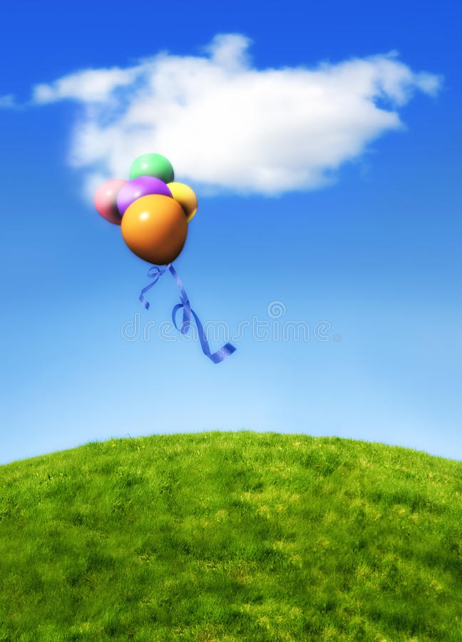 Balloons floating in blue sky royalty free stock images