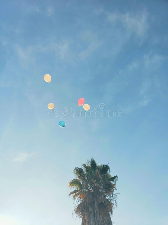 Multicolored balloons floating on the blue sky,perris,california. Balloons  floating up in the blue sky .  california perris royalty free stock images
