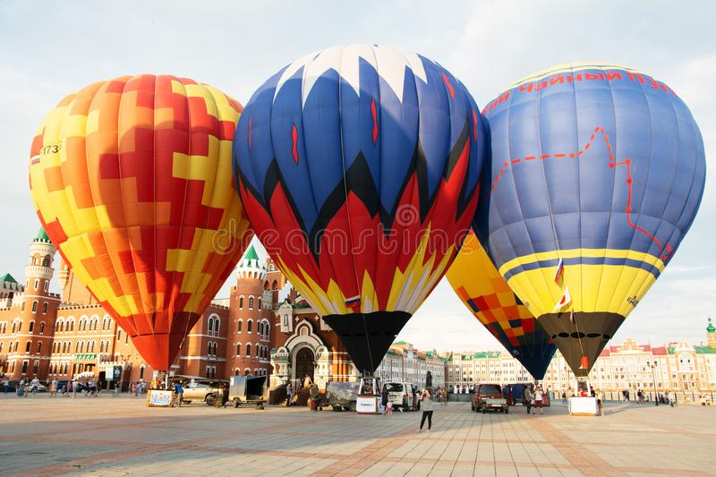 Balloons before flying stock image
