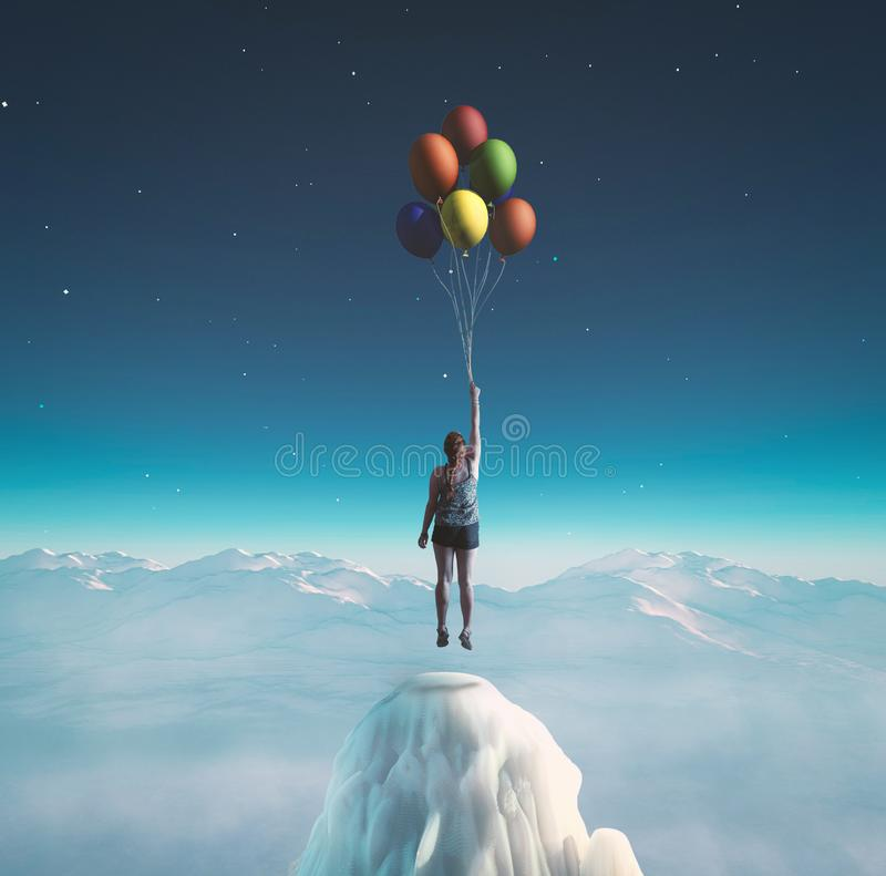 Balloons flying at night royalty free stock images