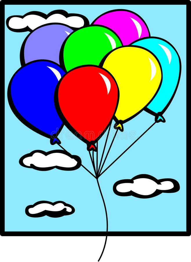 Download Balloons Flying In The Sky Vector Illustration Stock Vector - Image: 7617070