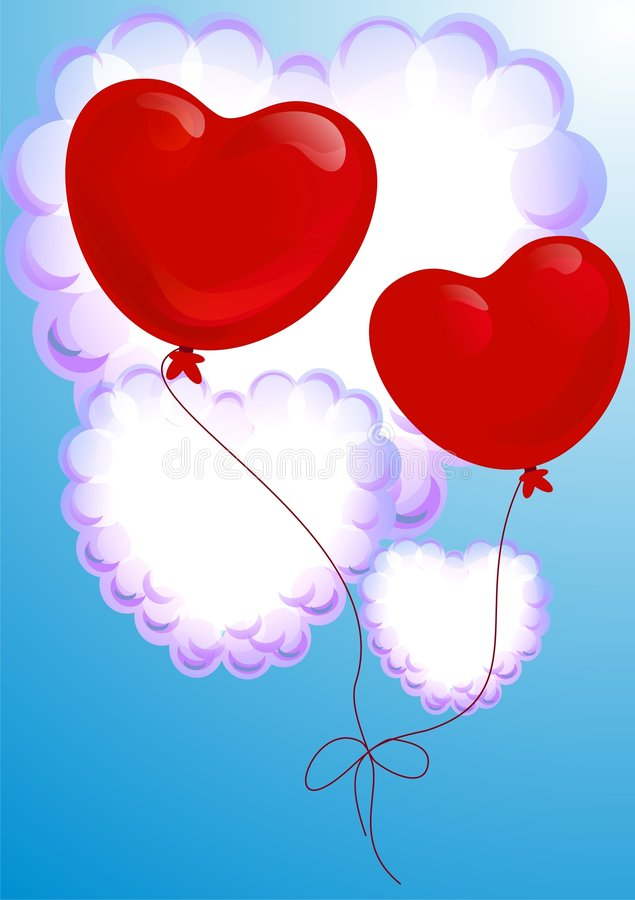 Balloons In Form Of Heart Stock Photography