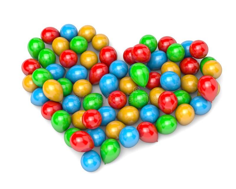 Balloons a forma do coração ilustração stock
