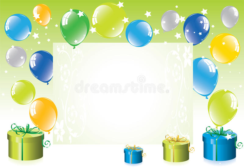 Balloons and gift boxes stock illustration