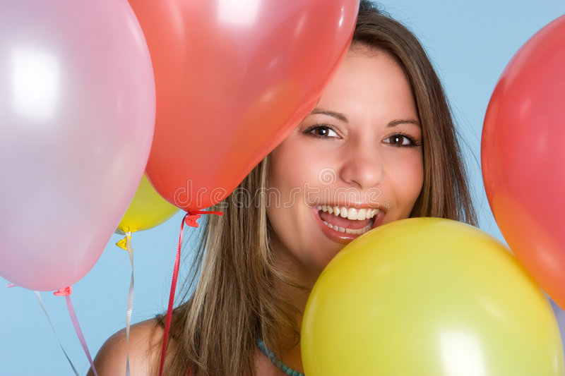 Download Balloons Girl stock photo. Image of girl, brunette, laughing - 6543194