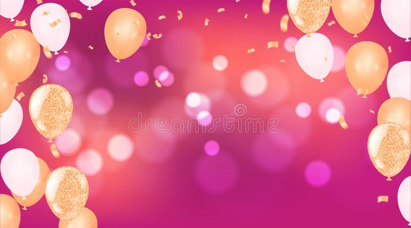 Balloons happy birthday. colorful balloon sparkles holiday background. Happiness Birth day to you logo, card, banner, web, design vector illustration