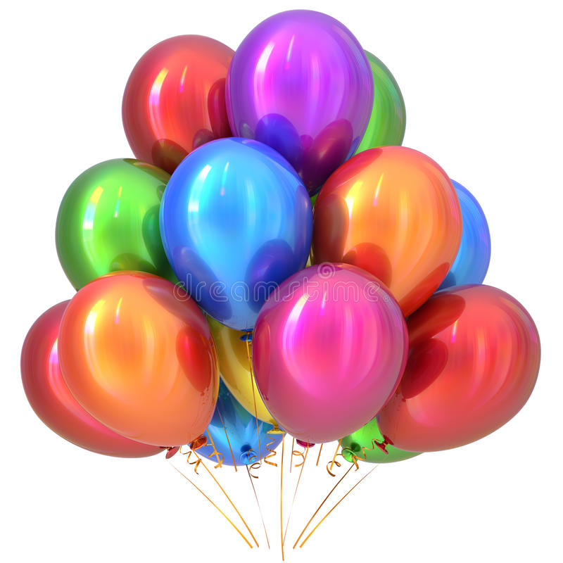 Balloons happy birthday party decoration colorful multicolored royalty free illustration