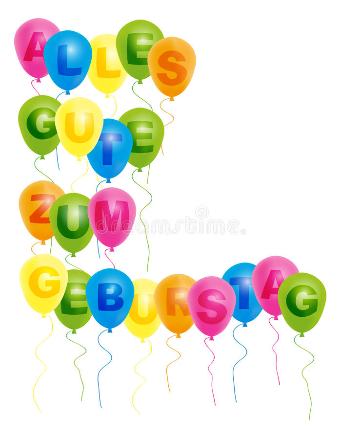 Balloons With With Happy Birthday Sign - German royalty free illustration