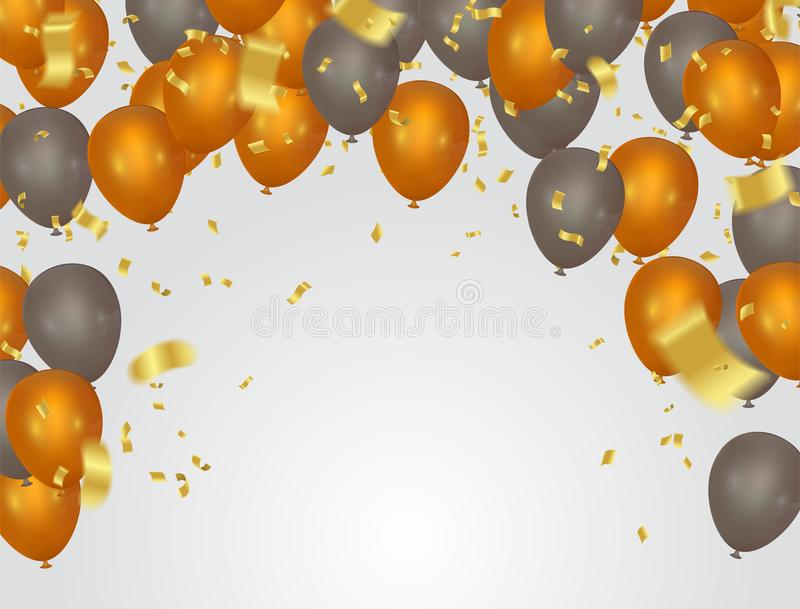 Balloons header background design element of birthday or party b stock illustration