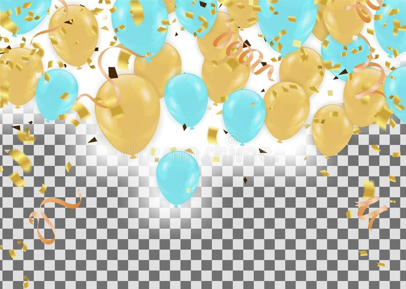 Balloons header background design element of Happy Luxury birthday stock illustration