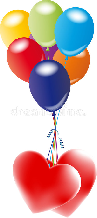 Balloons with heart royalty free stock photography