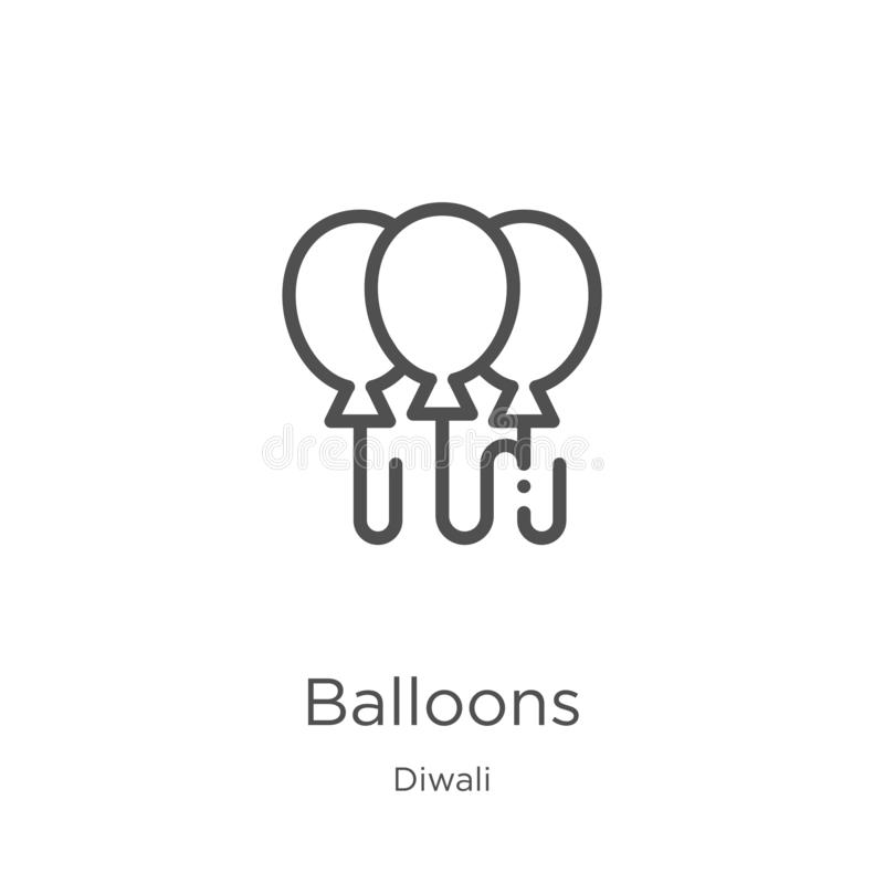 balloons icon vector from diwali collection. Thin line balloons outline icon vector illustration. Outline, thin line balloons icon royalty free illustration