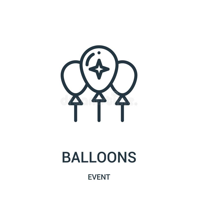 balloons icon vector from event collection. Thin line balloons outline icon vector illustration royalty free illustration