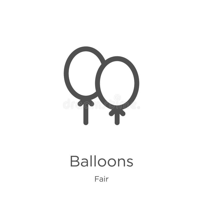 balloons icon vector from fair collection. Thin line balloons outline icon vector illustration. Outline, thin line balloons icon stock illustration