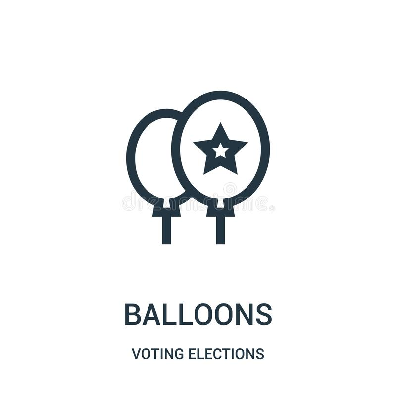 balloons icon vector from voting elections collection. Thin line balloons outline icon vector illustration stock illustration