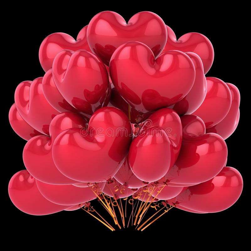 Balloons il cuore rosso a forma di, mazzo del pallone dell'elio del partito di amore royalty illustrazione gratis