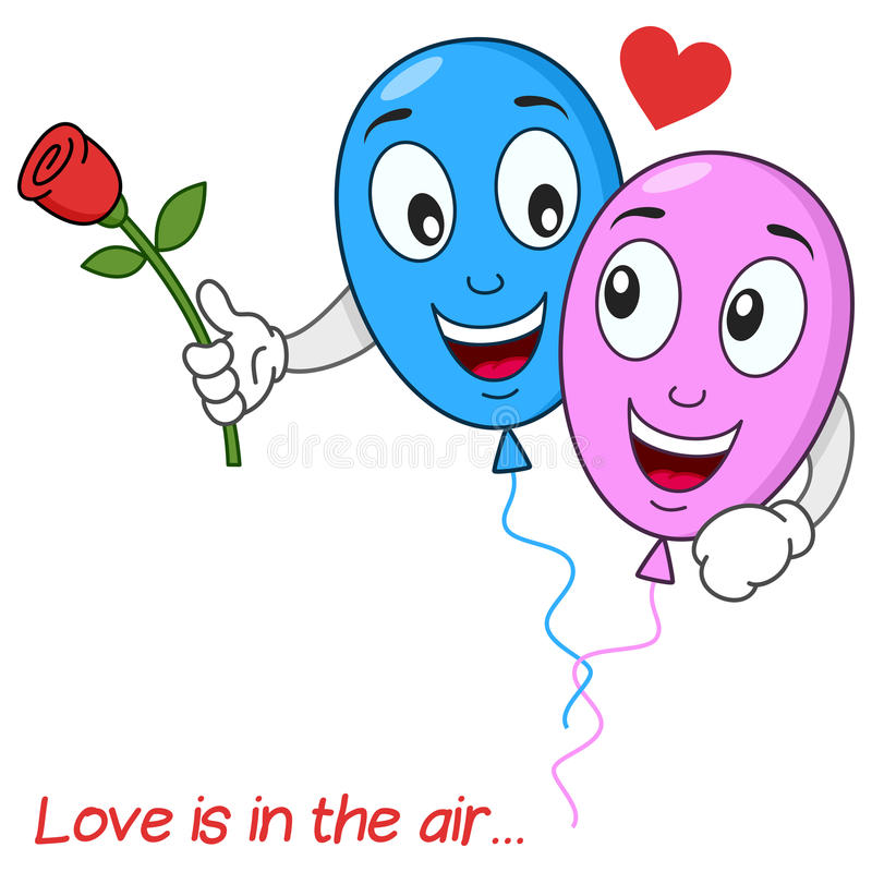 Download Balloons Lovers In Love Flying In The Air Stock Vector - Image: 42200453