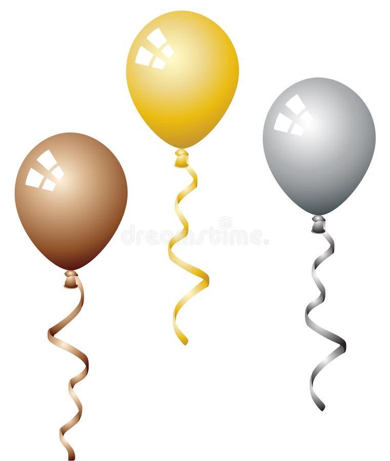 Balloons o bronze da prata do ouro ilustração do vetor