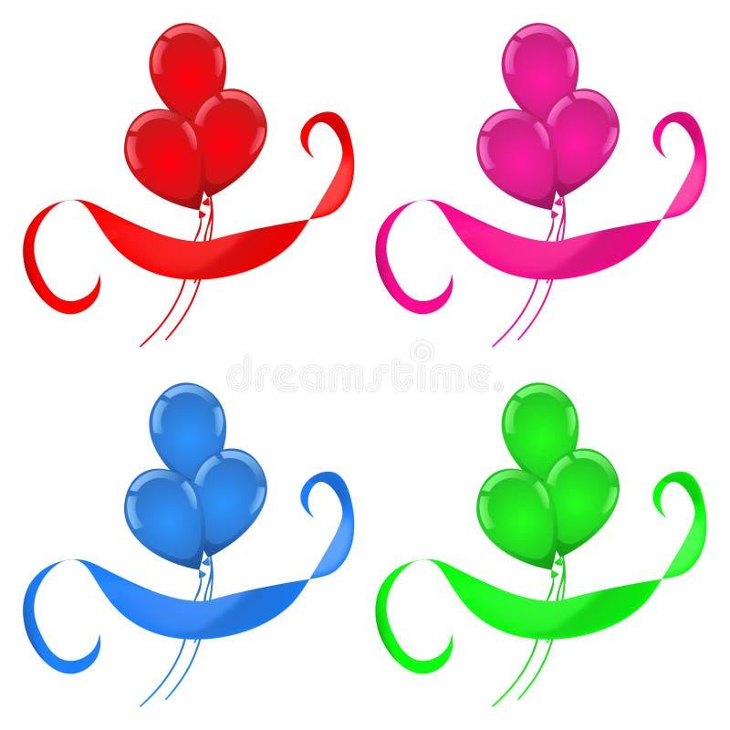 Balloons o grupo de cores da celebração quatro da fita ilustração stock
