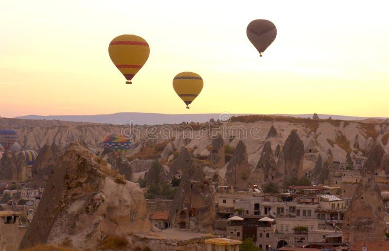 Balloons over Cappadocia royalty free stock photos