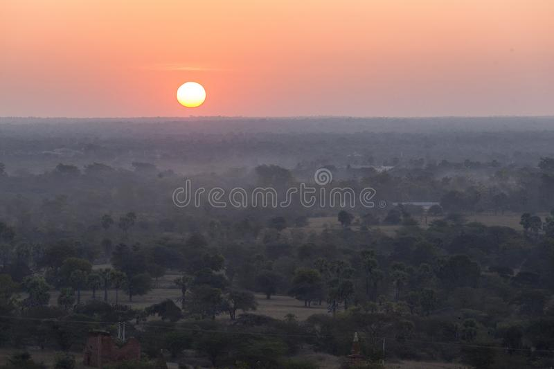 Balloons over Tempels Bagan at sunrise stock images
